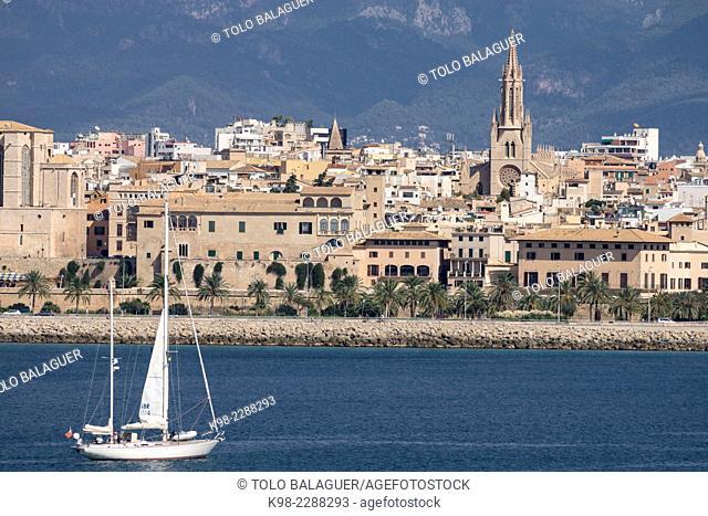 Sailboat, Episcopal Palace, Palma, Majorca, Balearic Islands, Spain