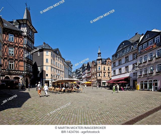 Marketplace with restaurants, view on the Mainzergasse street, old town of Marburg, Hesse, Germany, Europe