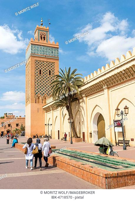 Locals on a place, Kasbah Mosque, also Mansouria Mosque or Mosque of Moulay al-Yazid, Marrakech Medina, Marrakech, Morocco, Africa