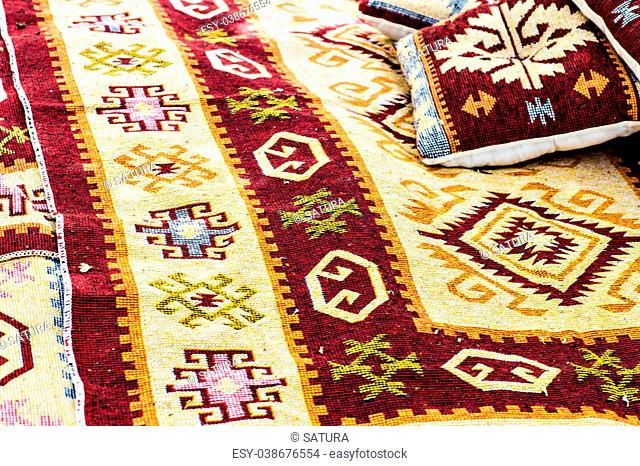 Oriental carpets in the park. Turkish carpets