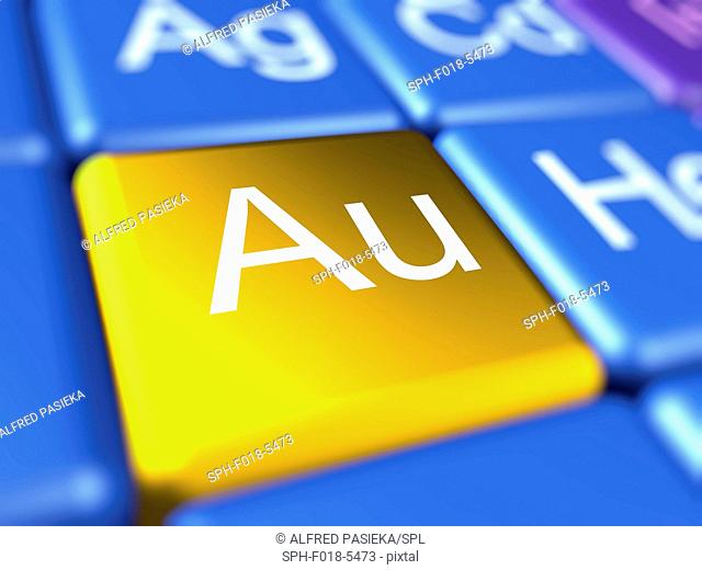 Computer artwork of a close-up of the periodic table focussed on the chemical element gold (Au=Aurum)