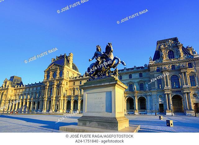 France , Paris City ,Louvre Museum , Louis XIV Statue