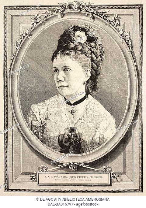 Portrait of Isabella, Princess of Asturias (1851-1931), illustration from La Ilustracion Espanola y Americana magazine, Year 19, Number 9, March 8, 1875