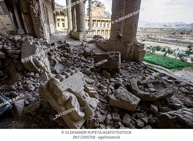 Pieces of stone interior details of Darul Aman Palace, ruined during Mujahideen factions fought for control of Kabul in the early 1990s, Kabul, Afghanistan