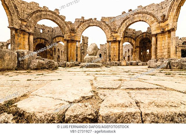 Ruins of the church and pillar Church of Saint Simeon Stylites. Syria