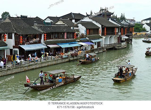 Boats in the canals of Zhujiajiao village near Shanghai, China, Asia