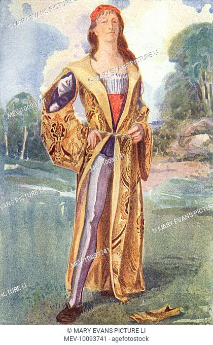 His long-sleeved sur-coat, belted at the waist, hangs open to reveal his waistcoat or stomacher, codpiece and hose