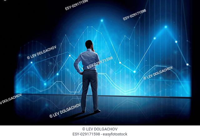 business, people, technology and statistics concept - businessman looking at virtual diagram chart over dark background from back