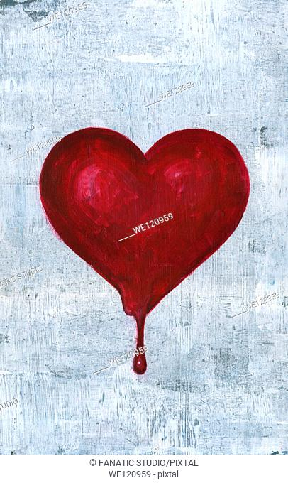 Illustrative image of blood dropping out from heart representing heart break