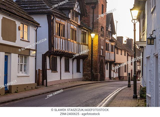 Evening on Church Street in Steyning, West Sussex, UK