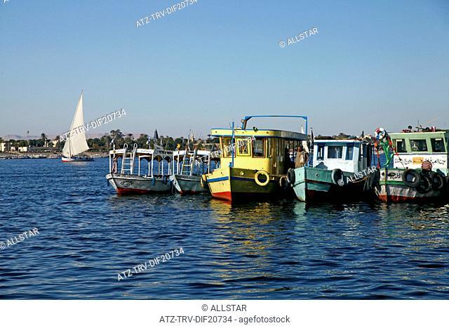 PASSENGER FERRY BOATS & FELUCCA; RIVER NILE, LUXOR, EGYPT; 13/01/2013