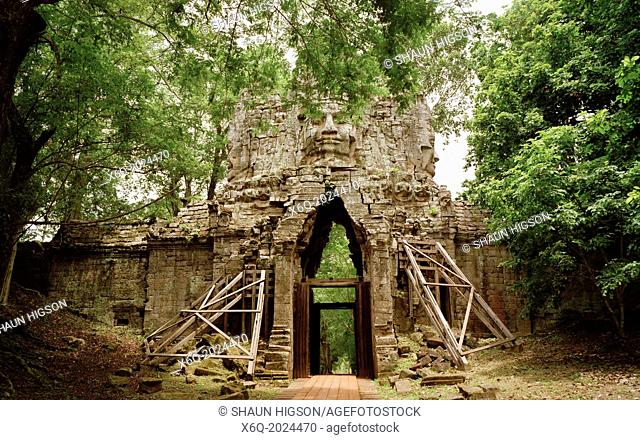 West Gate at Angkor Thom of The Temples of Angkor at Siem Reap in Cambodia in Southeast Asia Far East