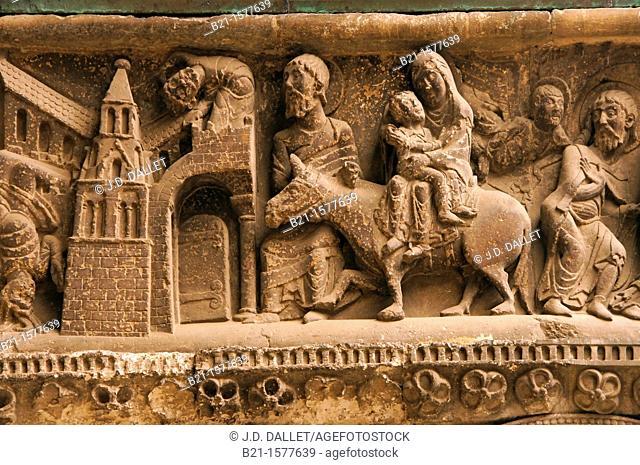 Flight to Egypt, East side wall relief of the portal of Saint-Pierre Abbey, Moissac, Tarn-et-Garonne, Midi-Pyrenees, France