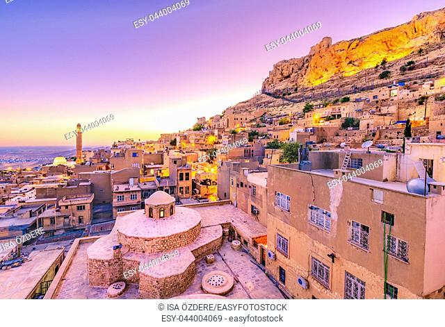 Sunrise landscape view of old Mardin city,a popular city for locals and tourist and located in southeastern of Turkey