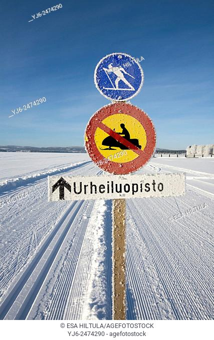 frosty traffic signs on ski tracks, Finland