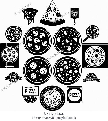 Pizza icons set food. Simple illustration of 16 pizza vector icons for web