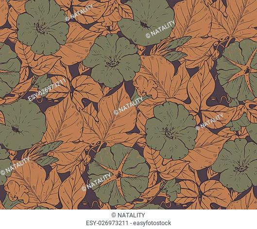 Vector seamless pattern with hand drawn bindweed flowers. Endless background in green and brown colors