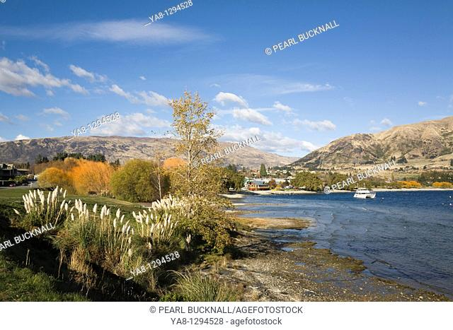 Wanaka Otago South Island New Zealand  Southern end of Lake Wanaka view to town from lakeside walk in autumn