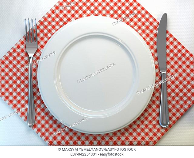 Top view of clean white plate with fork and knife on a tablecloth. 3d illustration
