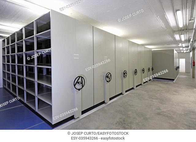 empty warehouse with sliding doors, white color