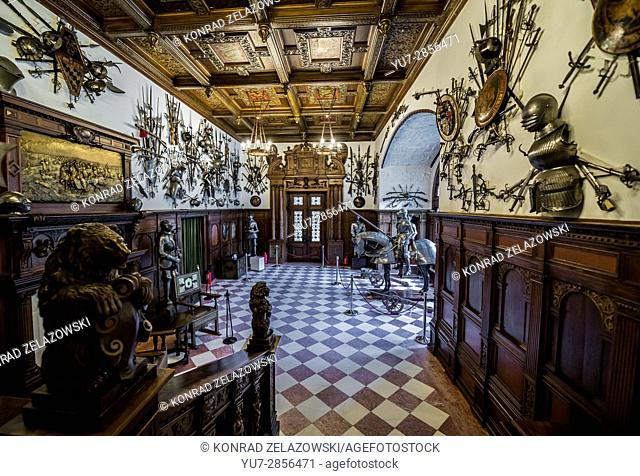 Grand Armory Hall in Peles Palace, former royal castle, built between 1873 and 1914, located near Sinaia city in Romania