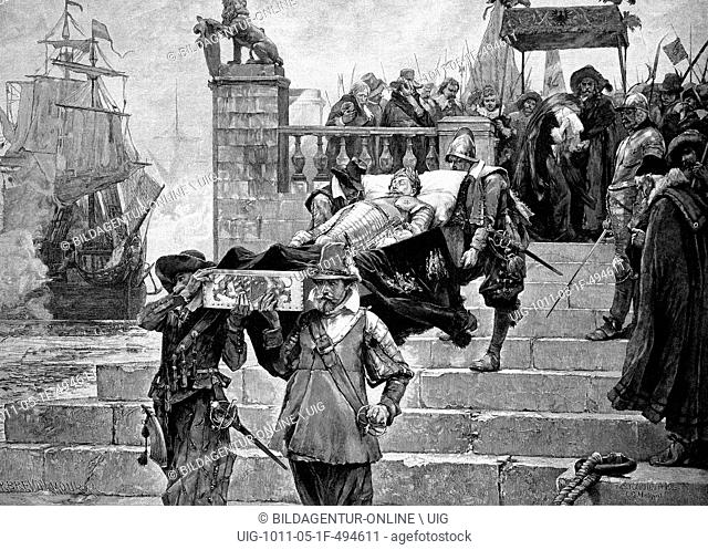Embarkation of the body of gustavus adolphus at the port of wolgast on 15/7/1633, historic engraving, 1888