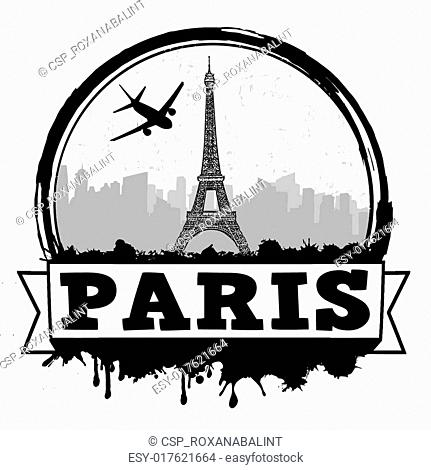 Paris travel label or stamp