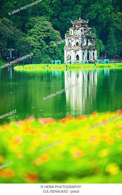 The Turtle Tower (Thap Rua) on Hoan Kiem Lake (Sword Lake) Hanoi, Vietnam
