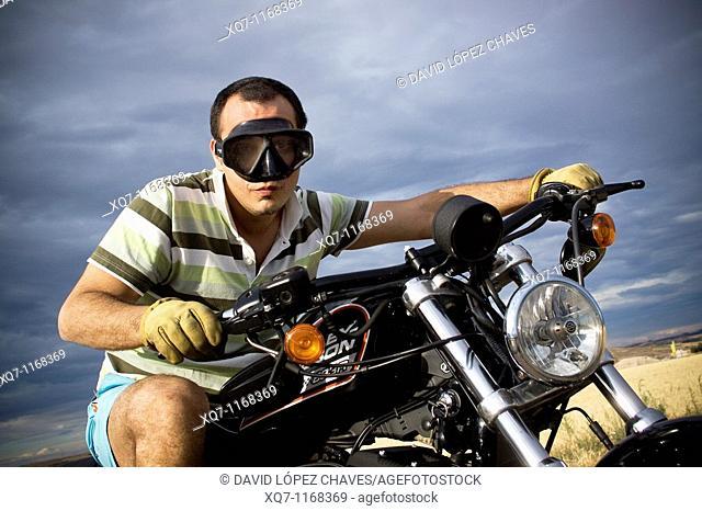 Man riding a Harley-Davidson