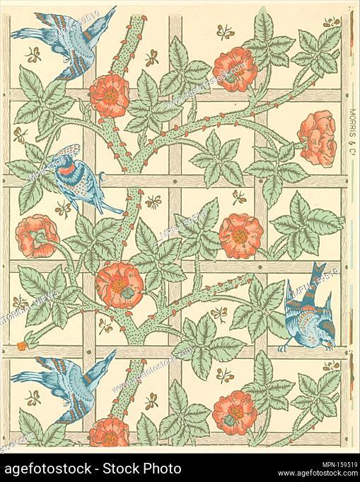 Trellis. Artist: William Morris (British, Walthamstow, London 1834-1896 Hammersmith, London); Artist: Birds designed by Philip Webb (British