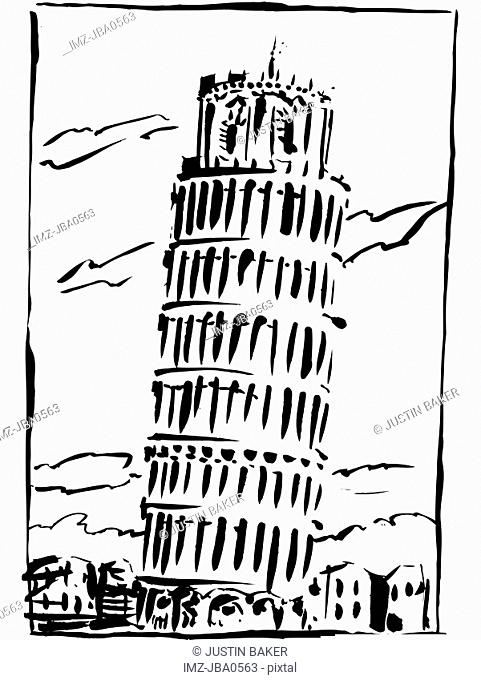 The Leaning Tower of Pisa in black and white