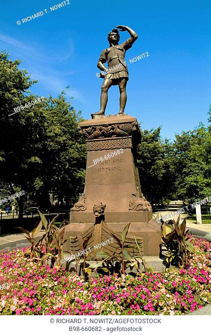 Viking Statute Commonwealth Avenue, Back Bay, Boston, Massachusetts, USA