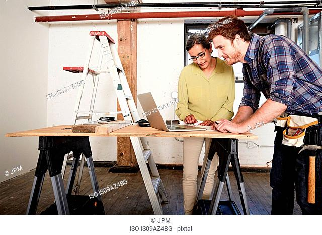 Carpenter and client using laptop