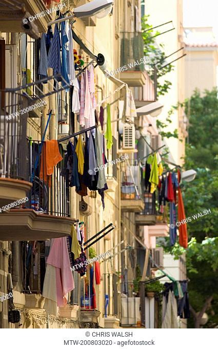 Building facade old balcony apartment laundry
