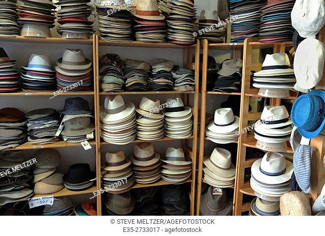 Hats for sale in a hat shop