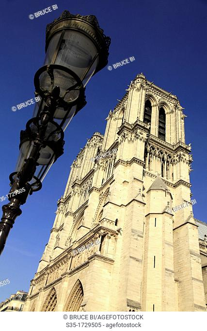 A lamp post with the bell towers of Notre Dame Cathedral  Paris  France