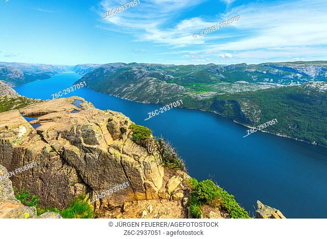 View to the Lysefjorden from Preikestolen, near Forsand in Norway, Scandinavia
