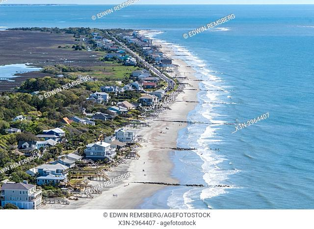Stately beach homes look out onto the blue waters off of South Carolina coast