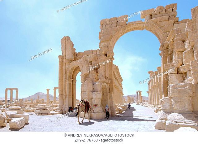 Monumental Arch, Arch of Triumph, or Arch of Septimius Severus in Palmyra, Syria
