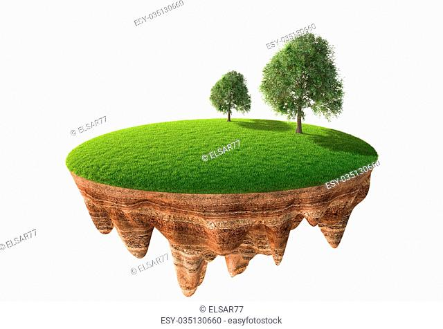 3d illustration of cross section of ground with grass isolated on white