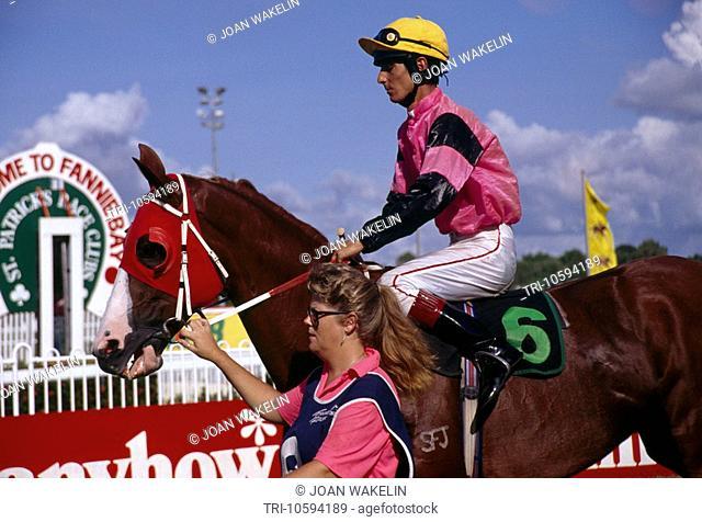 Darwin Australia Fannie Bay St PatrickÕs Day Races Jockey On Horse
