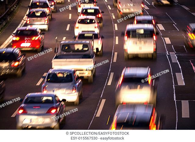 cars in traffic jam in evening