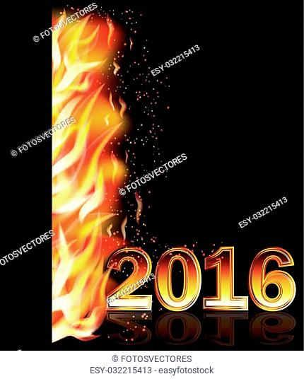 Fire flame new 2016 year banner, vector illustration
