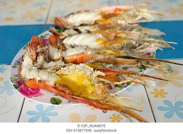 Grilled giant river shrimps Stock Photos and Images | age