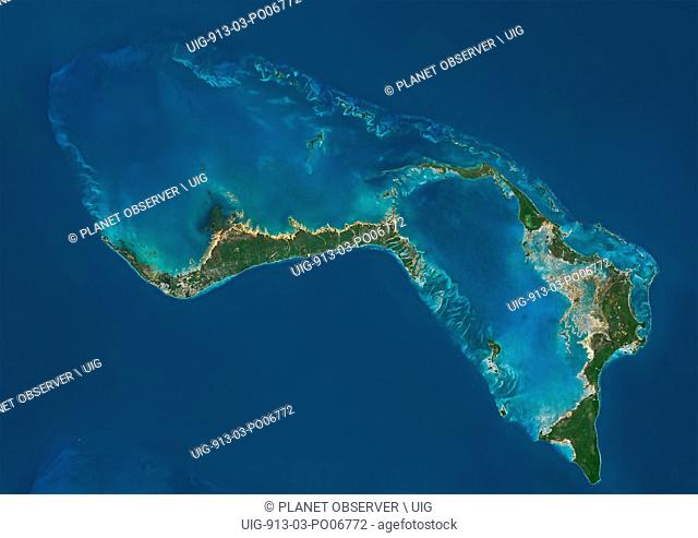 Satellite view of Grand Bahama and Abaco Islands, Bahamas. This image was compiled from data acquired by Landsat satellites