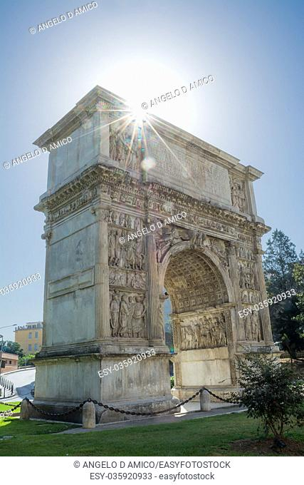 The Arch of Trajan in Benevento in backlight (Italy)