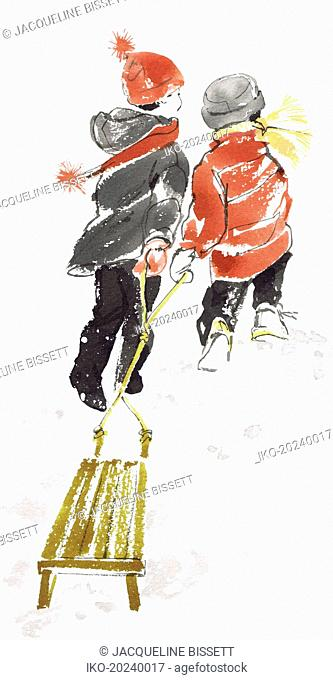 Girl and boy pulling toboggan together through the snow