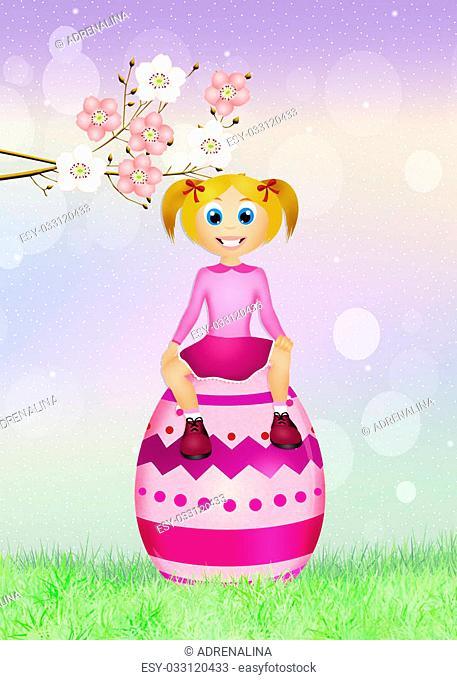 illustration of girl on Easter egg