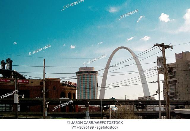 Landscape of St. Louis street in Missouri, America. St. Louis is a city located in the middle of USA