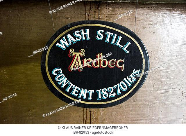Sign at a wash still, showing his capacity, Ardbeg distillery, Isle of Islay, Scotland